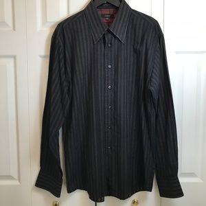 MBX Mens Navy Orange Striped Dress Shirt 17-17.5